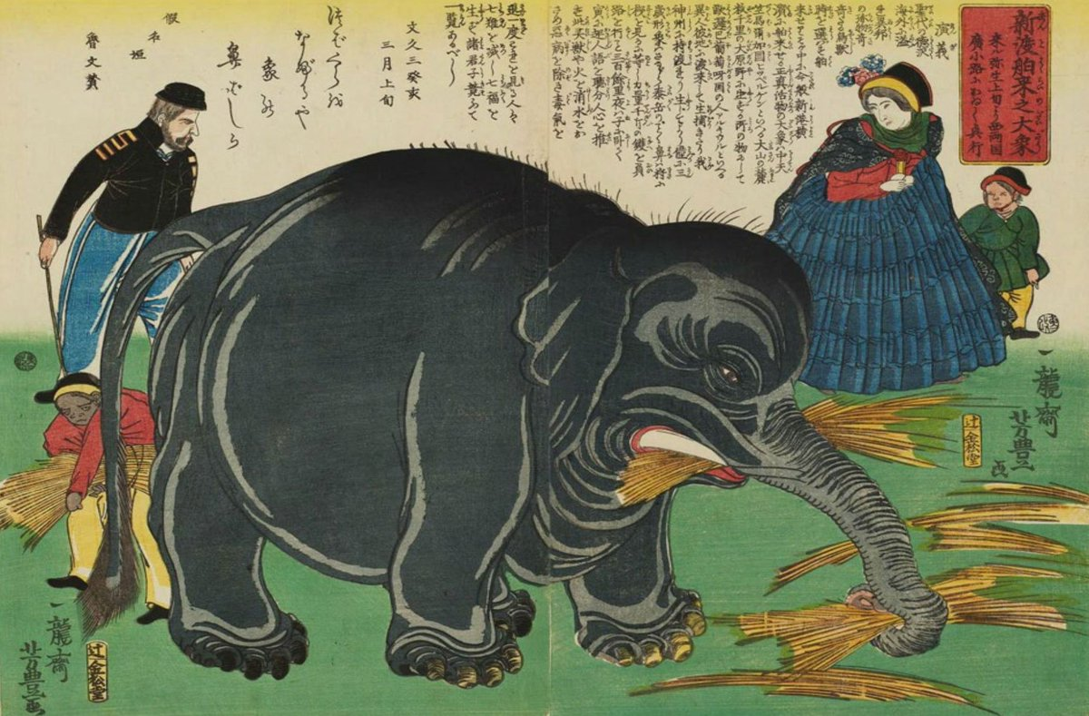 Elephants were pretty new to Japan when this was painting in the 1860s, and I think it shows! #japan #art #paintings #woodblock <br>http://pic.twitter.com/6ZW4P2K7Rw