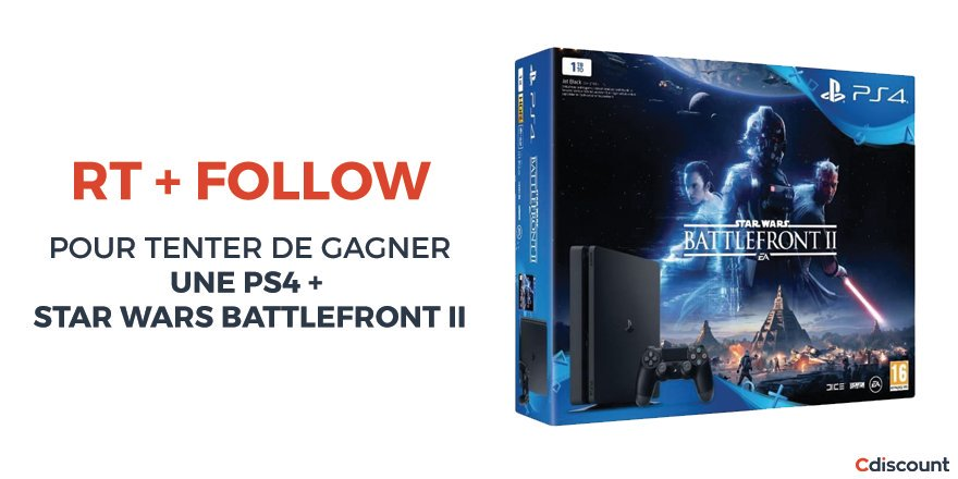 #Concours   #PS4 1To + #StarWarsBattlefrontII  &gt;  http://www. cdiscount.com.convey.pro/l/a0bVqMR  &nbsp;    Pour participer : RT +... by #Cdiscount via @c0nvey<br>http://pic.twitter.com/otpBCrAYsd