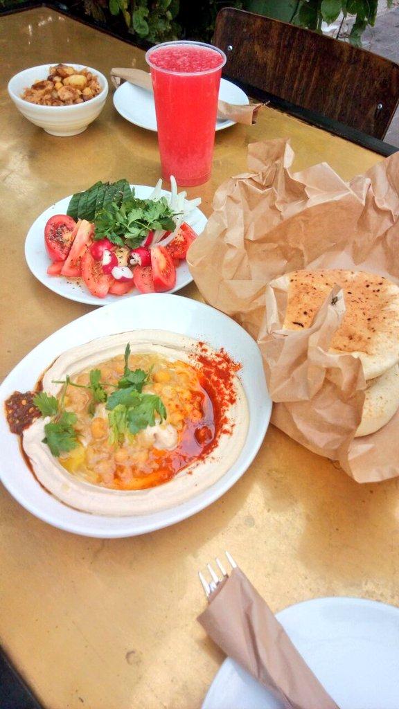 First meal in #Israel #Hummus #Falafel #Shawarma &amp; w/ pomegranate @ HaKosem #Israeli food=mix of cultures &amp; flavors  #LSLatam Bloggers<br>http://pic.twitter.com/wHXeEmhOzt