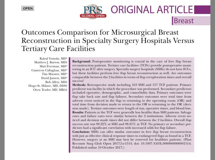 Microsurgical #BreastReconstruction outcomes, Tertiary Care Facilities vs Specialty Surgical Hospitals (SSH). Similar outcomes but greater variety of flaps, lower operative time &amp; length of stay at SSH  http:// bit.ly/2AzAWax  &nbsp;   #microsurgery #DIEPflap #BreastCancer @DiepFlapBreast<br>http://pic.twitter.com/I9SnwAQF29