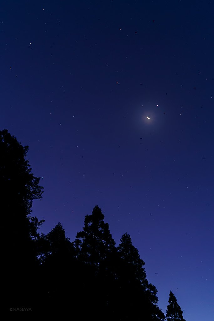 1、今朝未明に撮影した、しし座の星々と下弦を過ぎた月。月のすぐ右上の星がしし座の1等星レグルスです。…