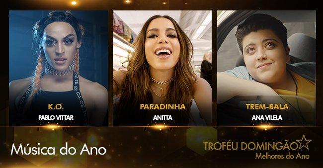 Um hino desses, bicho! K.O (@pabllovittar) , Paradinha (@Anitta) e Trem-Bala (@tudo_bacana) estão concorrendo na categoria Música do Ano. Vote →  https://t.co/LM3McAikXK #TroféuDomingão#MelhoresDoAno