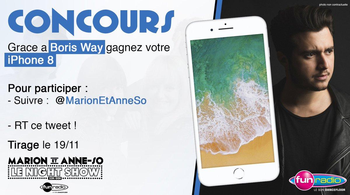 #CONCOURS : GAGNEZ VOTRE #iPhone8 grâce à @BorisWay   POUR PARTICIPER :  - Follow ->   -@MarionEtAnneSo RT ce tweet !  TIRAGE LE DIMANCHE 19 NOVEMBRE Good Luck 💪🏻😁