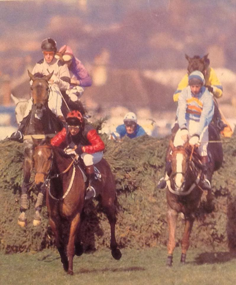 1983 Grand National Delmoss leads Corbiere at the Chair with Greasepaint and Carrow Boy just in behind