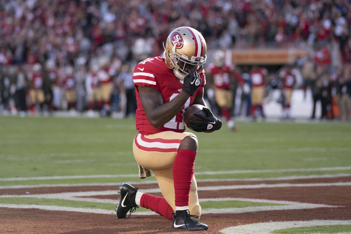Bigger than football 🙏  Marquise Goodwin broke down following his TD today, hours after learning he and his wife lost their baby boy due to complications during pregnancy https://t.co/BjOl1IMqtP