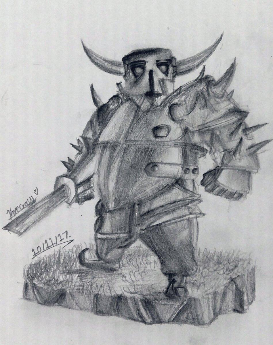 Here is my recently drawn P.E.K.K.A owo ~ Hope y&#39;all enjoy this as much as I enjoyed drawing this ^3^ @ClashRoyale #CR #ClashRoyale #ClashRoyaleFanArt #fanart #PEKKA<br>http://pic.twitter.com/OBjvD3yZKf