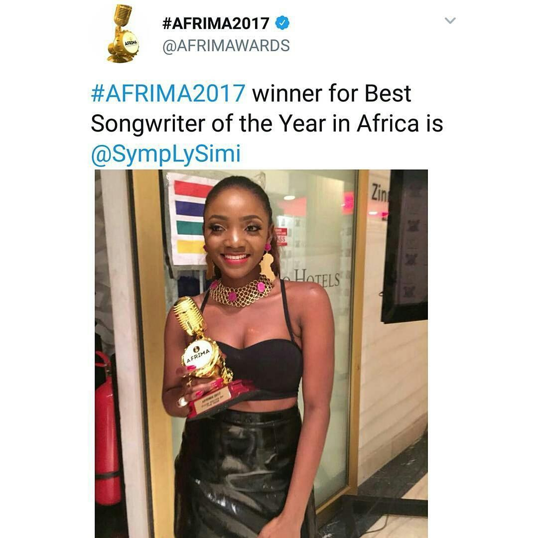 #Simi wins Songwriter of the Year award at #Afrima2017  #blueprintafric.com<br>http://pic.twitter.com/PuNe4Kwp43
