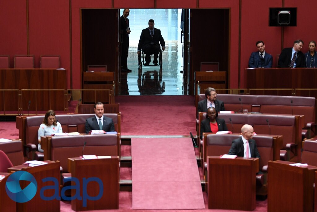 Greens Senator Jordon Steele John arrive...