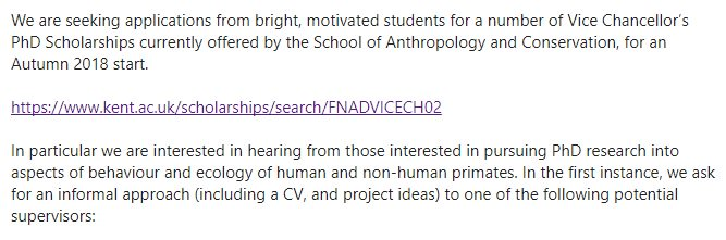 #PhD opportunities @UniKent - if interested in #primatology research, contact relevant contacts at the university<br>http://pic.twitter.com/NZUyMteD2c