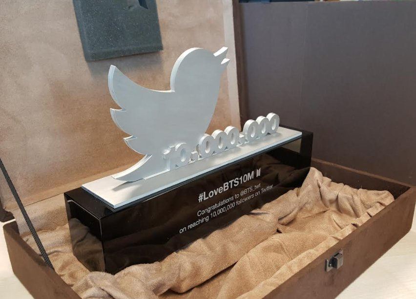 Twitter presents BTS with a trophy for b...