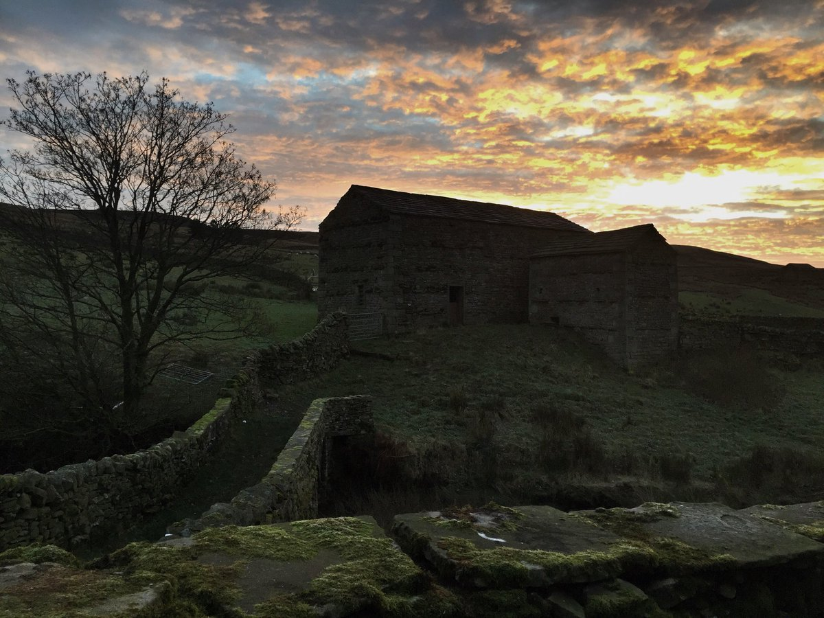 Icy landscape lit up by sunrise.   #swaledale <br>http://pic.twitter.com/JmqLfYwQy8
