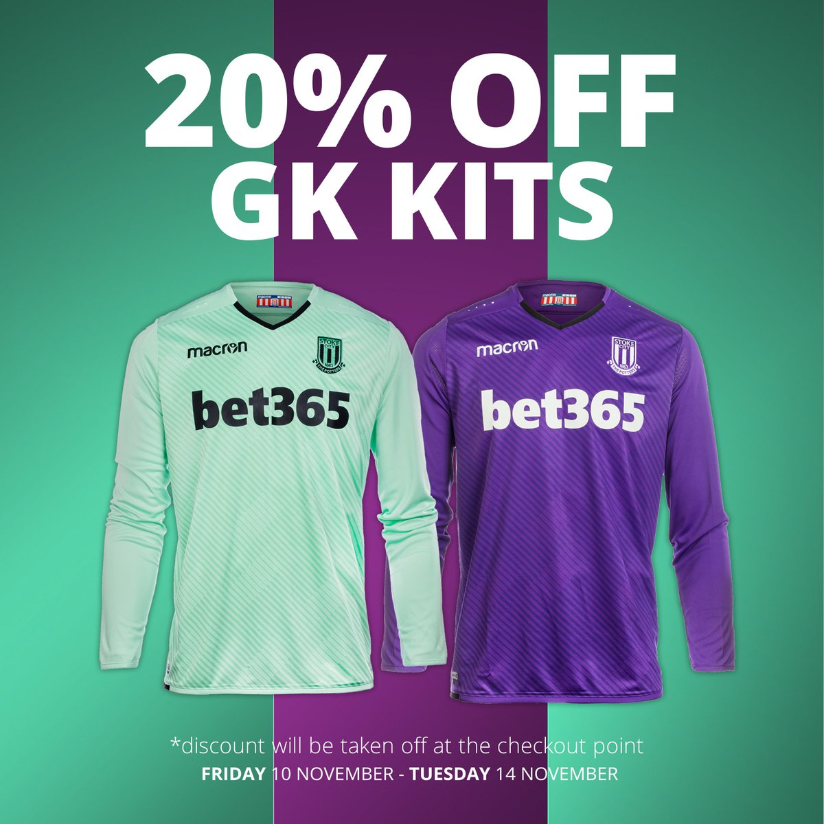 c182585833d There is still time to get 20% off a new 2017/18 Official goalkeeper kit.  Offer ends tomorrow. Visit https://store.stokecityfc.com/kit/goalkeeper and  get ...