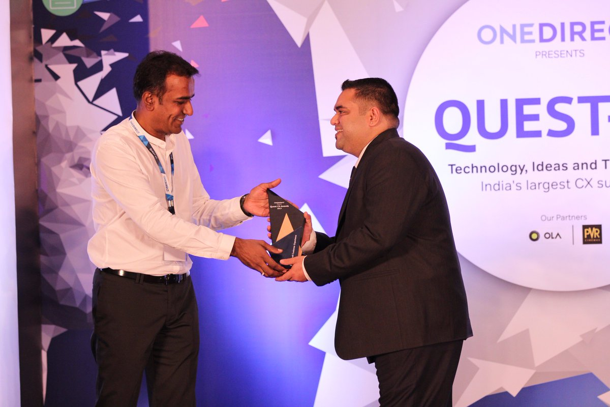 """Congratulations to @amazonIN for winning """"Best Overall Customer Experience Award"""" in E-commerce category at #Quest2017 https://t.co/Ok92Ofl1pK"""