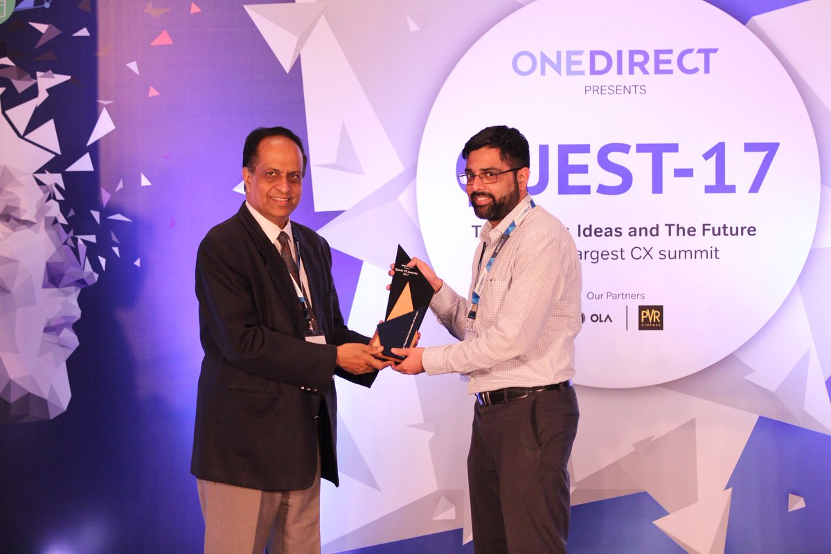 """Many Congratulations to @oyorooms for winning """"Customer Experience Innovation of the Year Award"""" at #Quest2017 https://t.co/gSiToXRKua"""