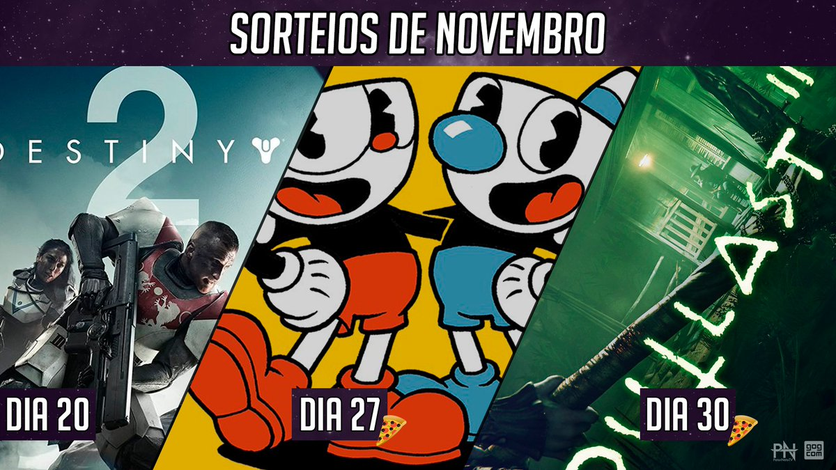 """Agenda de Sorteios da Live - Novembro, anota aí!  Dia 20/11 - Destiny 2 - Deluxe Edition (PC) - Todos Participam Dia 27/11 - Cup Head (PC) - Apenas Subs Dia 30/11 - Outlast 2 (PC) - Apenas Subs  """"Cup Head"""" e """"Outlast 2"""" você ativa no @GOGcomBR.  #sorteio #sorteios #petarnetotv https://t.co/S1oigph0yA"""