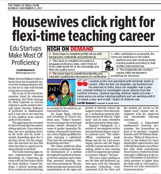 We&#39;ve been covered in @timesofindia Pune for our efforts in getting the #Housewives into the #employment economy. #TOI  http:// bit.ly/2ACmmhY  &nbsp;  <br>http://pic.twitter.com/qHElGlFVns