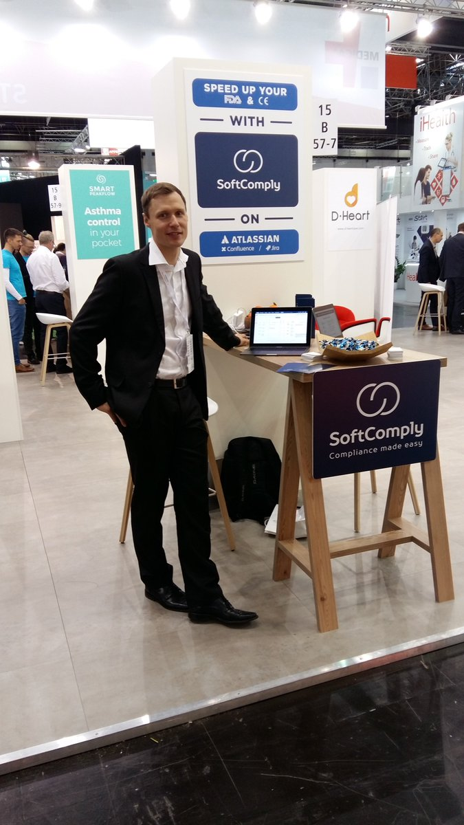 Day 1 @MEDICATradeFair where @SoftComply exhibits @Atlassian addons for @JIRA and @Confluence helping #MEDTECH and #health co-s get their products to market faster! #riskmanagement #qms #FDA #CEmark #regulatory #approval #pharma<br>http://pic.twitter.com/it6b5PfIQP