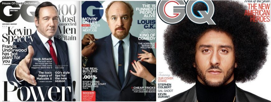 Colin Kaepernick citizen of the year in GQ like Kevin Spacey and Louis C.K.