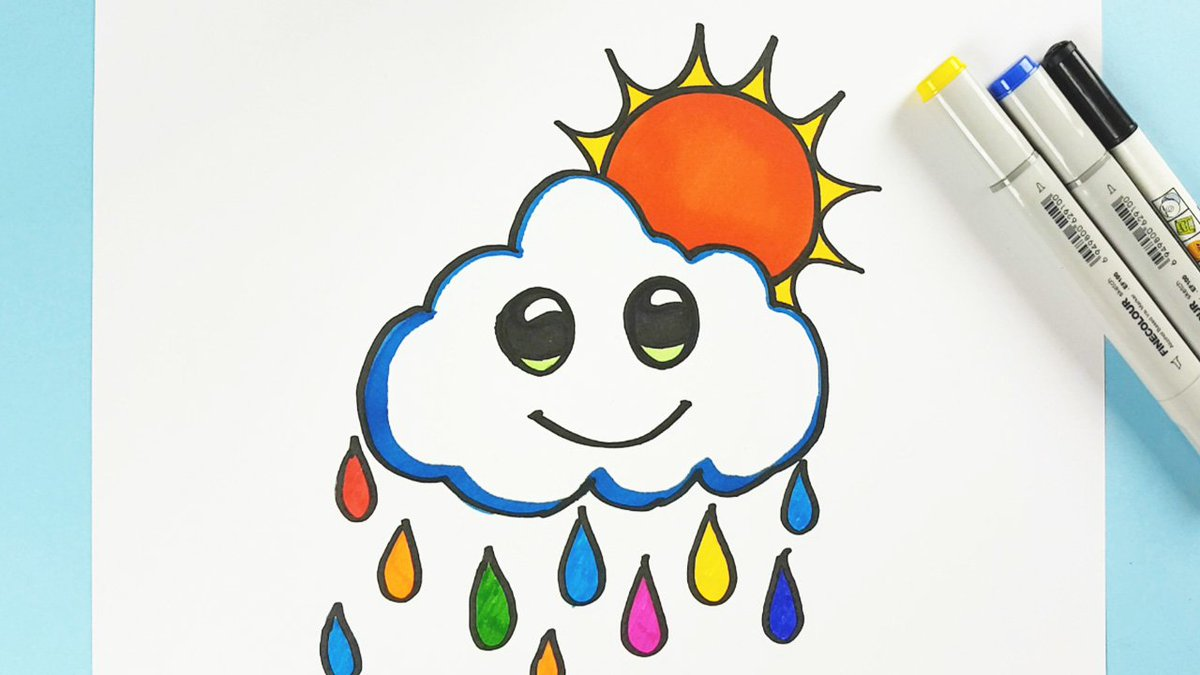 Kids Drawing Ninja On Twitter How To Draw Cute Cloud And Sun Step By Step Tutorial Https T Co Xpf5swixps Powered By Kidsdrawingninja