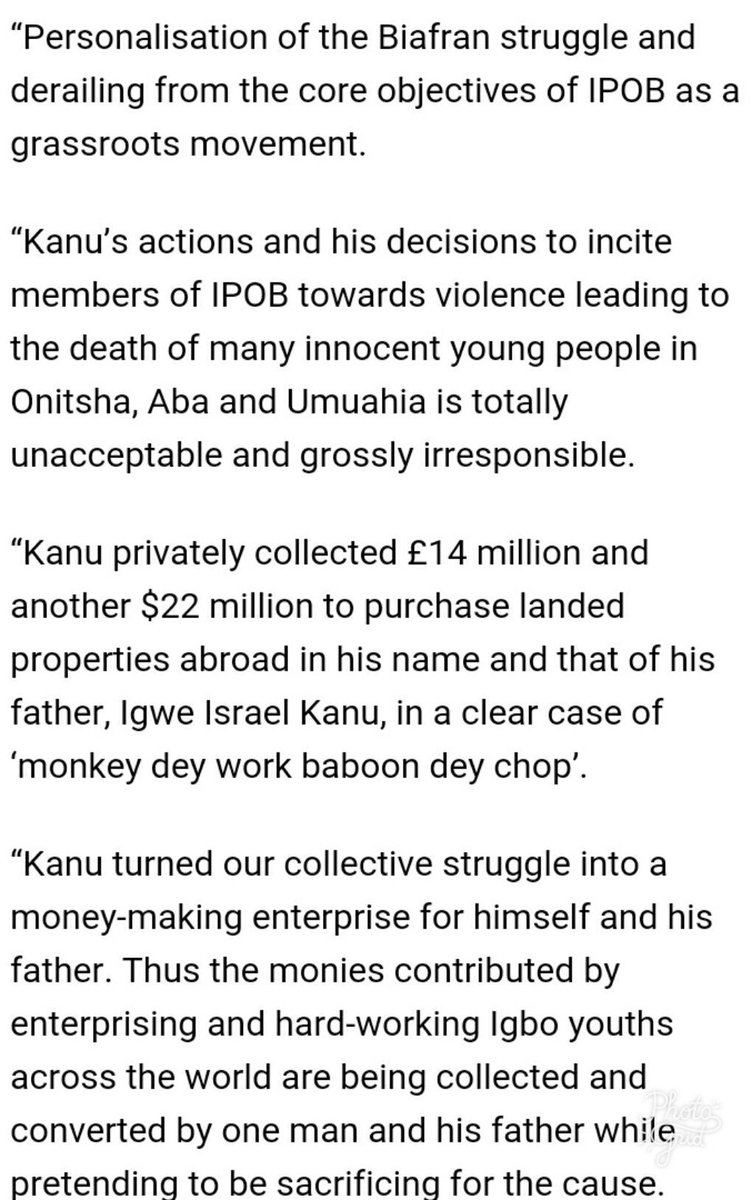 Members of the IPOB has raised alarm that their fugitive leader, Mr Nnamdi Kanu allegedly embezzled some funds totaling about $40 million.