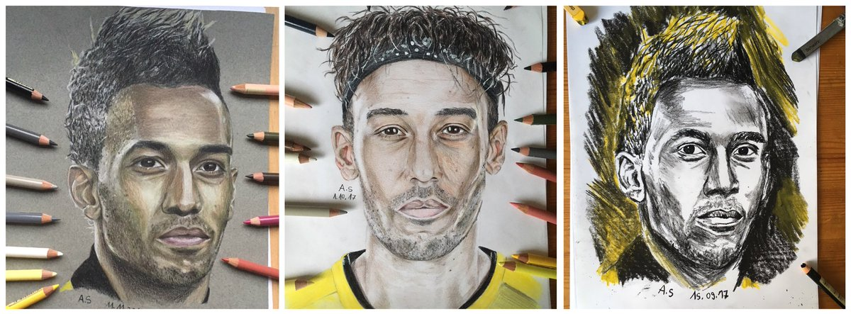My three drawings of my favorite football player @Aubameyang7   #aubameyang #bvb# @BVB #football #drawing #art<br>http://pic.twitter.com/gydqL23OiH