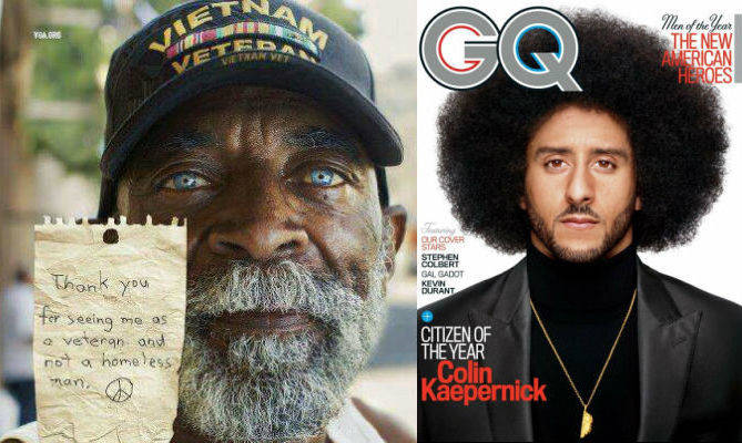 &quot;Citizen Of The Year&quot; Hey @GQMagazine, One Of These Men Is An Oppressed Homeless Veteran, The Other Is A Whiny Millionaire Who Bitches About Oppression... #FunFact: Colin Kaepernick Is NO Hero <br>http://pic.twitter.com/AlkjpNVKrs