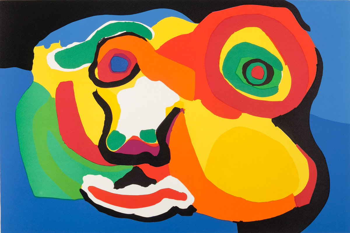Karel Appel, Colorful People, 1974 #Appel was inspired by children&#39;s drawings &amp; #Surrealism. Two of his works are featured in #FindaFace at the Akron Art Museum through 12/31/17  http:// bit.ly/2v8axx2  &nbsp;  <br>http://pic.twitter.com/bAphGCWJ5K