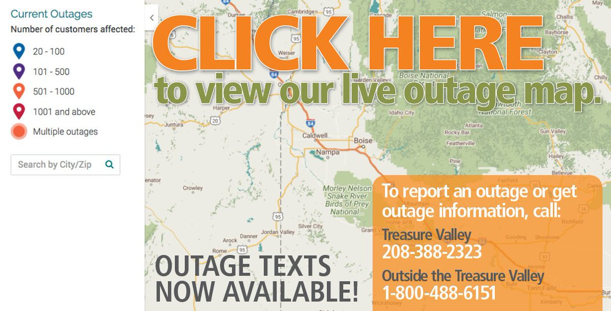Idaho Power On Twitter Looking For Outage Information Visit Our