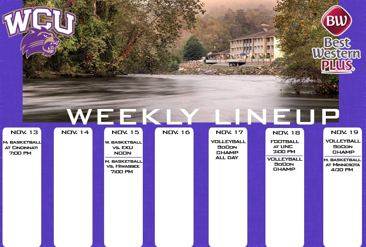 WCU Athletics Weekly Lineup (thru 11-19)