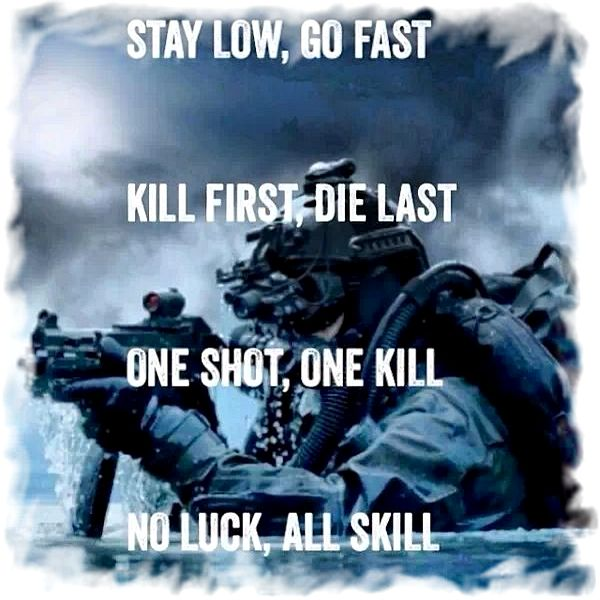 Image result for Stay low, go fast, kill first, die last, one shot, one kill, no luck, all skill