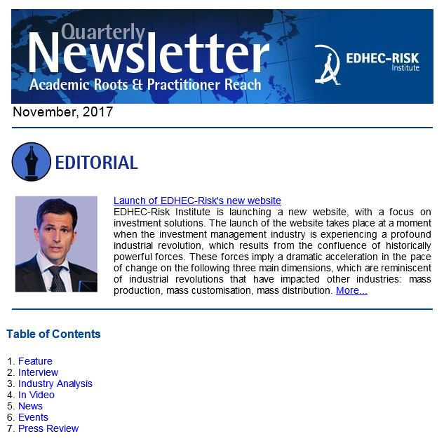 #EDHECRisk just released its quarterly #Finance #newsletter  with focuses on #riskpremia, #smartbeta, #GBI, #equity and other academic #research outputs on #Investment #Solutions.  http:// ow.ly/1tbg30gy1vb  &nbsp;  <br>http://pic.twitter.com/F7SAoxrE9m