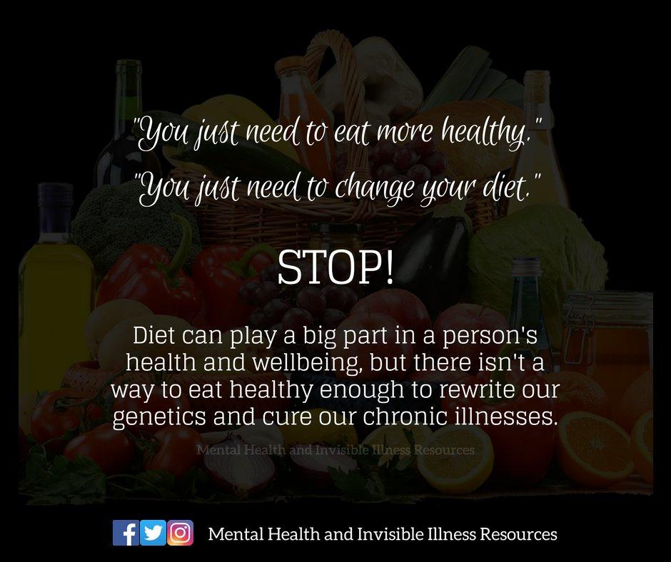 Eating healthy can help chronic illnesses but it isn&#39;t a cure! #chronicillness #invisibleillness #Fibromyalgia #mecfs #ChronicFatigueSyndrome #Lupus #crohns #MultipleSclerosis #LymeDisease #mentalillness #ChronicPain #diabetes #epilepsy #arthritis #EDS #pots #CRPS @MHIIR_14<br>http://pic.twitter.com/ABTBTQ4MYh