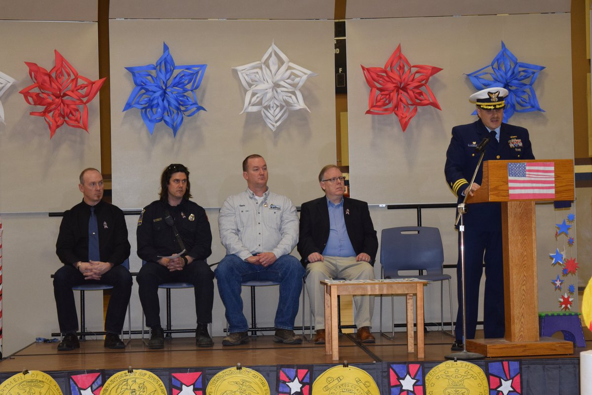 #USCG #MSU #Valdez celebrated #VeteransDay with Hermon Hutchens Elementary School Thursday. Cmdr. Michael Franklin, MSU CO, spoke to the student body in commemoration of Veterans from all services. Plus, he was recognized for  his service by the school. #ThankYouForYourService<br>http://pic.twitter.com/HSikfI9Iwu