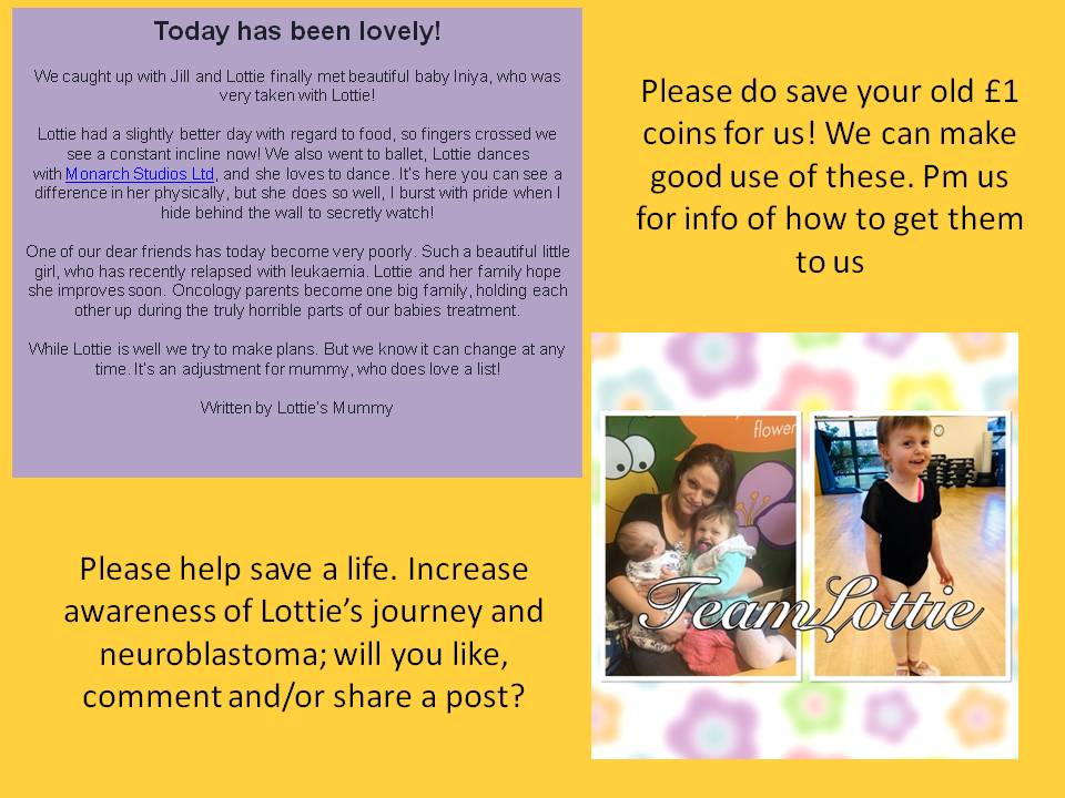**Monday** Today has been lovely  Lottie met baby Iniya  and went to ballet  - she loves to dance Lottie has had a slightly better day with regard to food so fingers crossedwe see a gradual improvement #teamlottie #cancersucks #love #hope #MondayMotivation <br>http://pic.twitter.com/Q3fGdqXWur