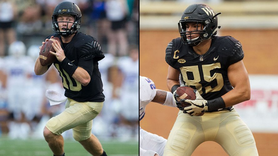 Congrats @WakeFB John Wolford and Cam Serigne! They were named ACC Players of the Week, and are both @WakeForestBiz senior finance majors! https://t.co/DvdQaQY2kG (hat tip @DemonDeacons )