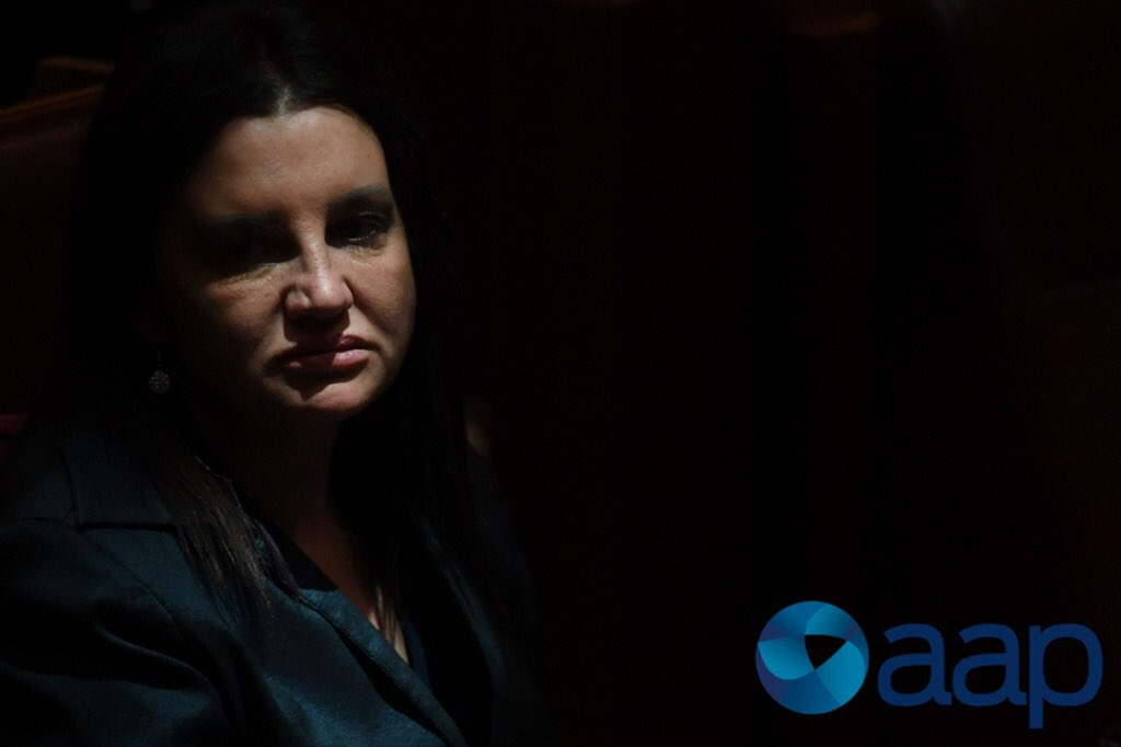 Senator Jacqui Lambie is seen in a cast...