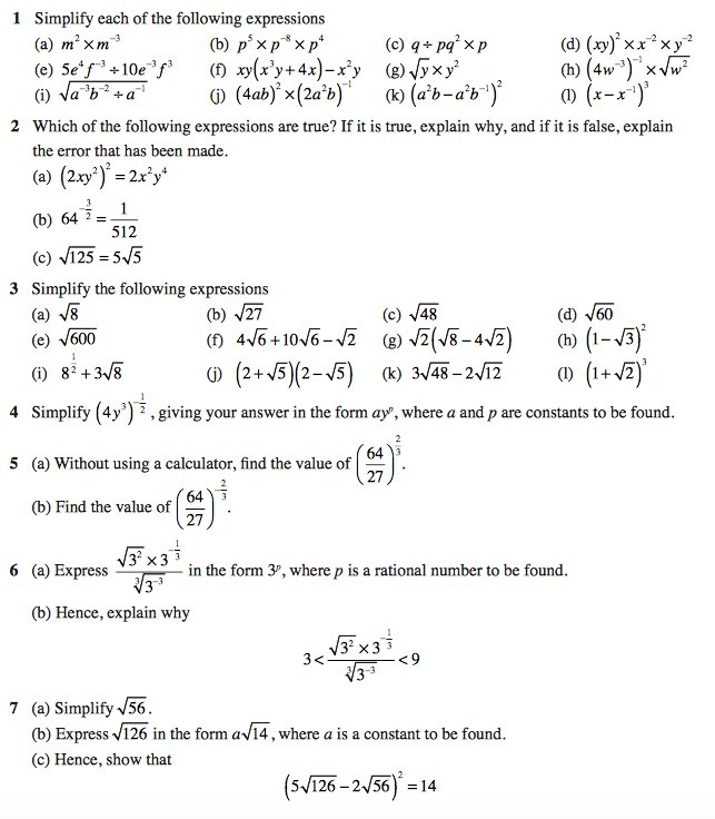 Crashmaths On Twitter A New Gcse Worksheet On Laws Of Indices And