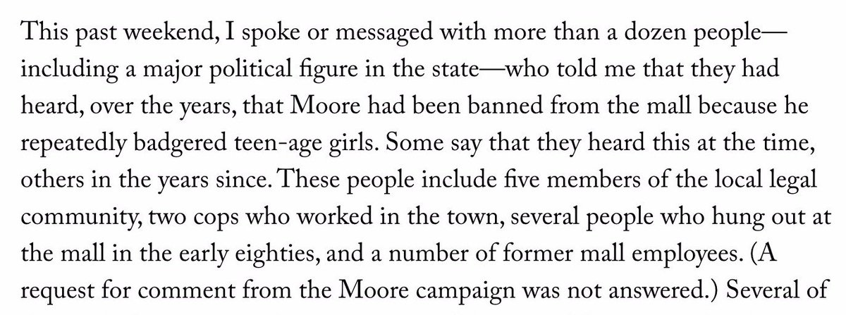 In early 80s, Roy Moore was a frequent and troubling presence at Gadsden mall, where teens hung out. @charlesbethea interviewed more than dozen people who said he was banned for his behavior. https://t.co/WzkslKnGiA