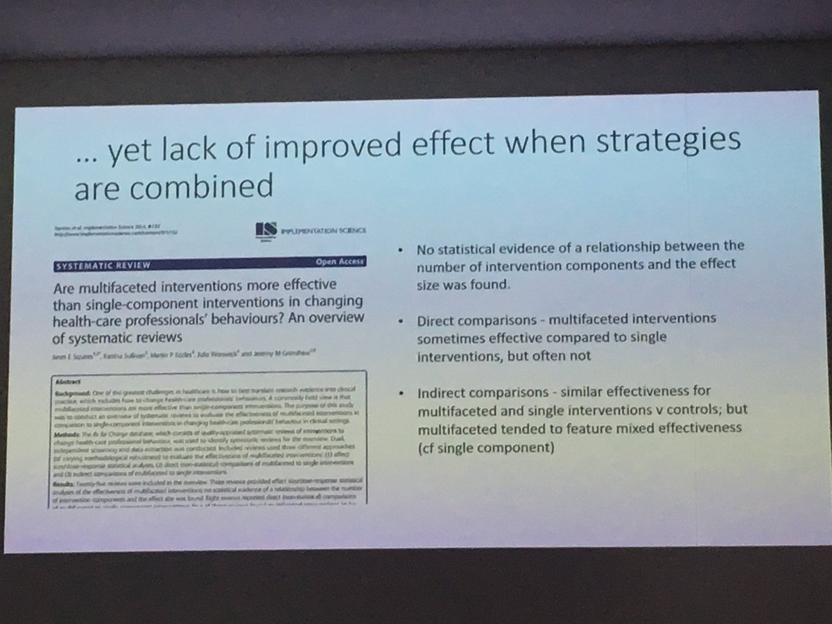 Chris Paul from @HCRAAustralia on why we need to think twice before throwing the kitchen sink at increasing #implementation of #evidencebased interventions in #cancercare. Multifaceted interventions not always most effective  #COSA17<br>http://pic.twitter.com/6nyfOIKR6H