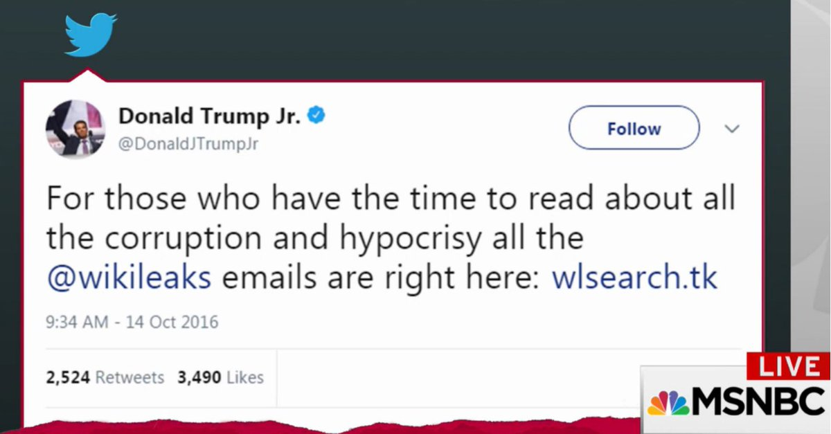 #TrumpJr wins the Darwin Award for incriminating himself and everybody else, LOL #StupidWatergate #TrumpRussia #Mercer #Pence #Conway #Bannon #Kushner #Wikileaks #Assange #Maddow<br>http://pic.twitter.com/dcxeGc80U7