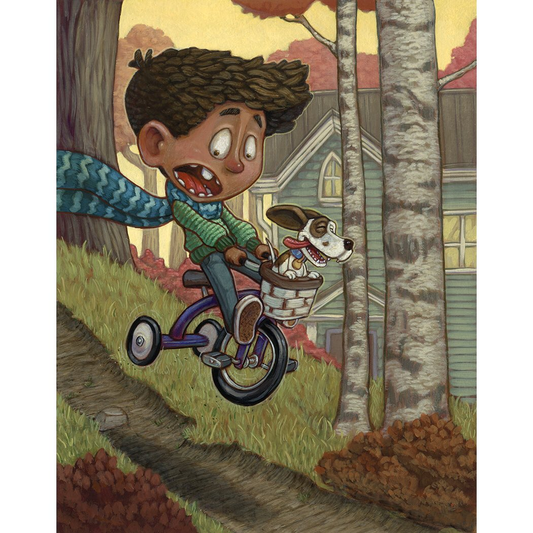 A little bit of backyard mountain biking! Painted a drawing from my sketchbook #kidlitart #illustration #acrylic #mountainbiking <br>http://pic.twitter.com/CWcej02Cmw