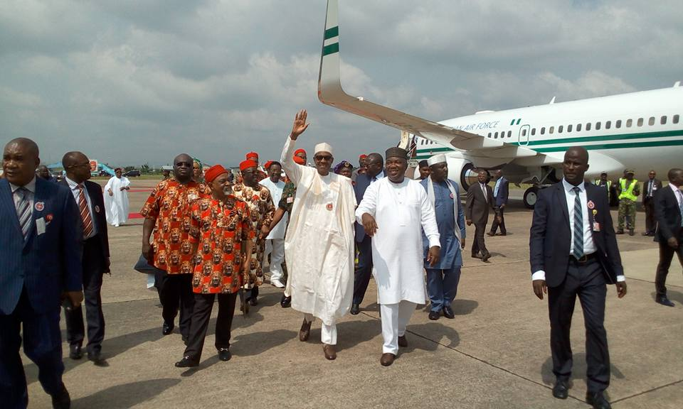 President Muhammadu Buhari has arrived in Abakaliki in Ebonyi state to the warm embrace of a mammoth crowed as he started his two-day official visit to South East.