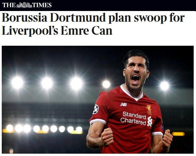 Emre #Can (23) intéresse le #Borussia Dortmund selon The Times.  L'international allemand est en fin de contrat à #Liverpool en juin 2018. pic.twitter.com/0rkgwUjZWn