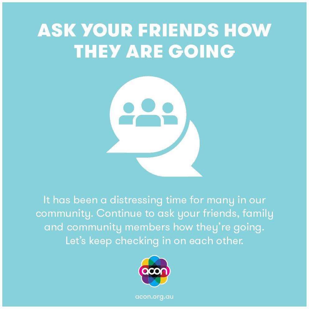 Whatever the result is tomorrow, people are going to feel overwhelmed with emotions. Look after yourself and others. Here is a great resource from @ACONHEALTH to help https://t.co/2BIvhYnxij  #marriageequality #VoteYES