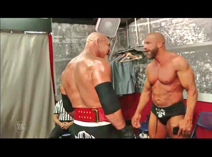#TripleH &amp; #Goldberg ....backstage of #WrestleMania 33....shown at #WWE24 ...@WWE @WWENetwork @TripleH #WWE<br>http://pic.twitter.com/HimnUfCUYB