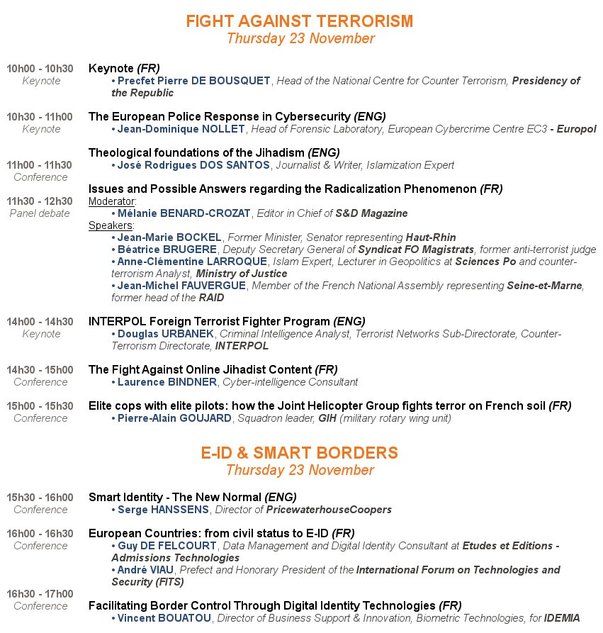 Do not miss the #MilipolParis conferences on Thursday 23 November with 2 main topics in the spotlight: Fight against #Terrorism / #eID &amp; #SmartBorders<br>http://pic.twitter.com/eFaqEE9rzj
