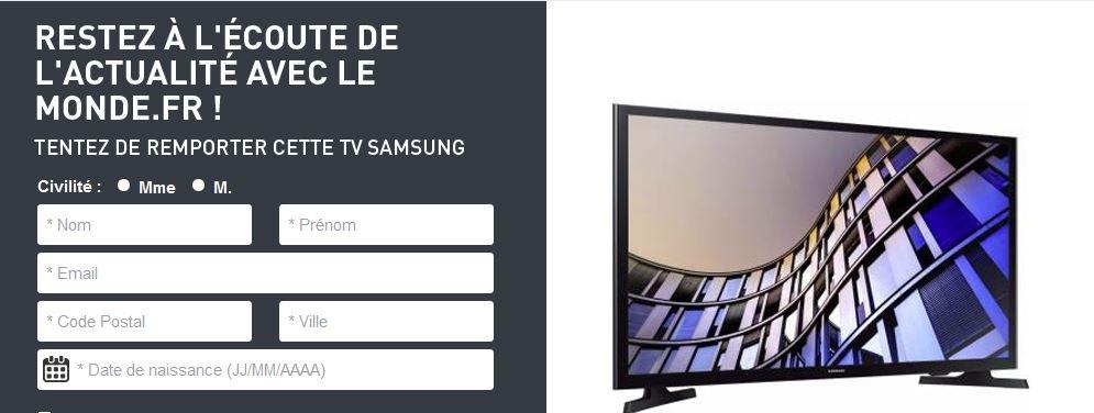 #Concours: À gagner : 1 TV Samsung    #Jeux #RT + follow   @gainspourtous    http:// gainspourtous.com/a-gagner-1-tv- samsung/  … pic.twitter.com/AxGFi6e0u4
