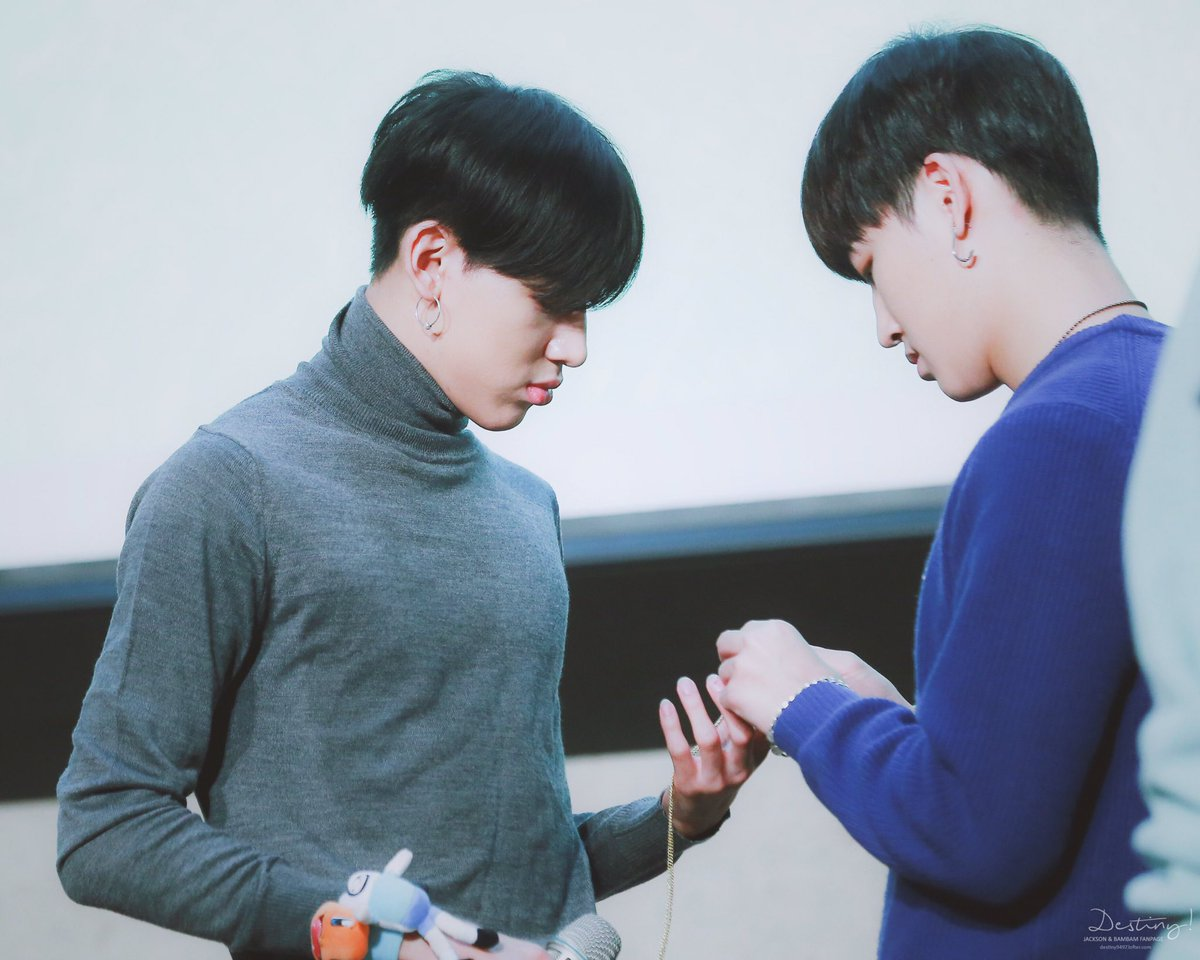 JB: I&#39;ll tie you this string so when I feel that you went away, I&#39;ll just pull it to know where you are. BB: Okay daddy.  #GOT7 #7for7 #YouAre #갓세븐 #JB #Jaebum #BamBam #TeamGOT7 <br>http://pic.twitter.com/GRMyk0ImY5
