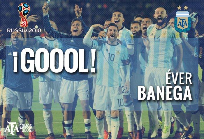 #VamosArgentina ¡Goooool argentino! @Ever10Banega, de tiro libre, abre el marcador a los 27' del primer tiempo. https://t.co/8BfBrtPXr1