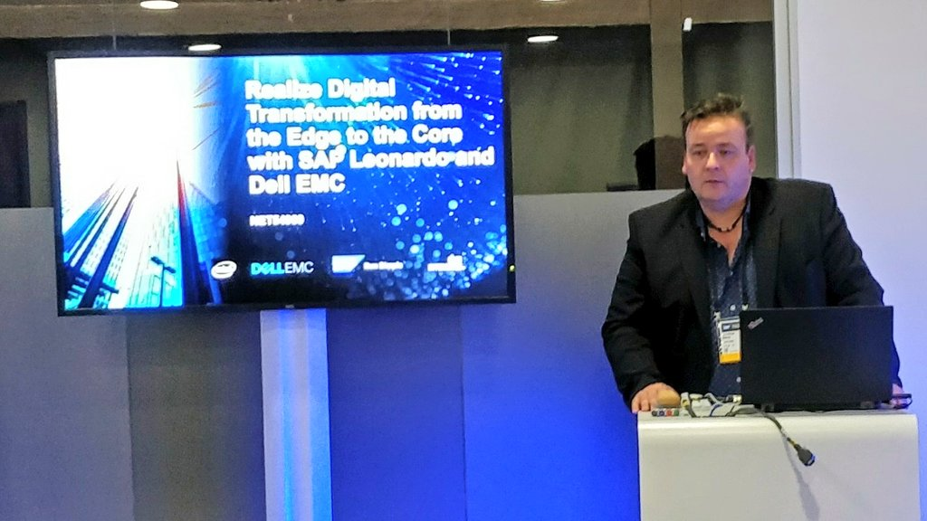 @gunther_manz speaks on accelerating Edge to Core #DigitalTransformation with #DellEMC #ReadySolutions for #SAPLeonardo &amp; #SAPHana.  Come visit #DellEMCSAP #Virtustream #VMWare at #SAPTechEd #Barcelona<br>http://pic.twitter.com/NzDsEfYail